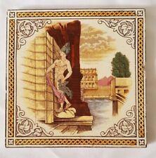 GORGEOUS ROMAN ADONIS DESIGN ANTIQUE 6 INCH TILE CIRCA 19TH C