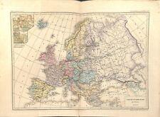 Carte de l'Europe en 1815 Borodino 1812 Bérézina 1812 sous Napoléon  Map 1854