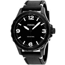 Fossil Men's JR1448 Nate Black Dial Black Leather Watch