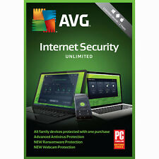 AVG Internet Security 2018 Unlimited Device, 2 Year Keycard- Brand New
