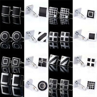 1Pair Black Stainless Steel Mens Cufflinks Shirt Cuff Links Wedding Party Gift F