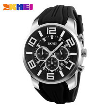 SKMEI Men Quartz Analog Sport Watch Large Dial Steel Case Silicone Wristwatches