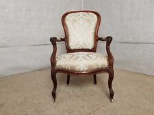 Vintage Reupholstered French Voltaire Louis Xv Style Oak Armchair