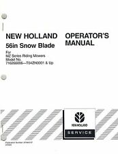 """NEW HOLLAND 56"""" BLADE  FOR MZ RIDING MOWERS  OPERATOR MANUAL """"NEW""""  87040107"""