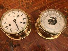 Vintage German Schatz Mechanic Ship Brass Maritime Marine Clock and Barometer