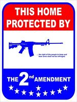 This Home Protected By 2nd Amendment Security Retro Vintage Metal Sign 9x12