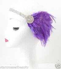 Silber & Lila Feder Kopfteil Kopfschmuck Vintage 1920er Jahre Stirnband Flapper