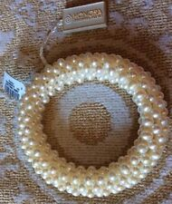 "$125! Elegant! HONORA Genuine White 4-5mm Pearl Stretch Woven Bracelet 7-7.5"""