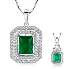 "Silver Square Cushion Cut Green Emerald CZ Pendant w/ 18"" Chain Necklace Gift G7"