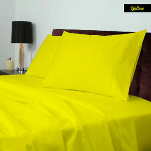 1000TC Egyptian Cotton Hotel 4 PCs Sheet Set Yellow Solid Select AU Size