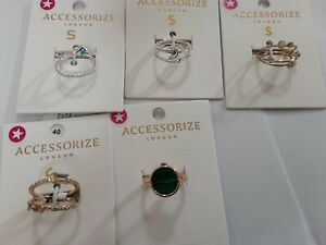 Accessorize costume jewellery 10 rings size S,  NEW        T4