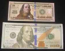 $100 Dollar Bill Benjamin Wallet Thin Plus Fun Ben Franklin Million Dollar Bill!