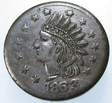 1863 Civil War Token, Indian Head, Not One Cent, Fuld Cwt 59/385