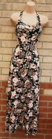 BLACK PEACH PEACHY PINK FLORAL BACKLESS CUT OUT SIDES LONG MAXI DRESS 12 M