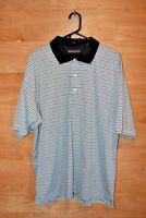 PGA Tour Blue Stripe Short Sleeve Golf Polo Shirt Mens XXL