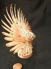 Japanese Antique Folk Art Toy MINGEI PEACOCK Woodcarving wood carved WHITTLING