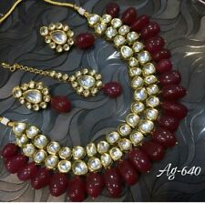 Kundan Indian Bollywood Wedding Bridal Red Choker Hyderabadi jadao Jewelry Set