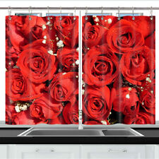 Red rose expresses love Kitchen Curtains 2 Panel Set Decor Window Drapes