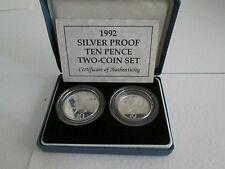 Royal MINT 1992 Silver Proof 2 x 10p 10 Pence Boxed with COA - Two Coin Set