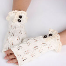 Women Winter Warm Lace Fingerless Knitted Gloves Knit Gloves Button Nice Mittens