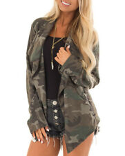 Womens Ladies Camouflage Parka Jacket Waterfall Camo Blazer Coat Outerwear 10-16
