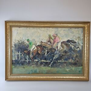 William Norman Gaunt (1918-2001) Large Oil On Canvas Over The Fence Horse Racing