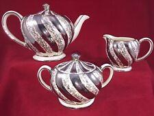 Sadler China England Tea Set Silver Floral Swirl Teapot Creamer Sugar Bowl w Lid