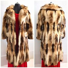 NEW Authentic Natural Fitch Fur Coat Jacket Long Honey Beige Womens SZ 12 M/L