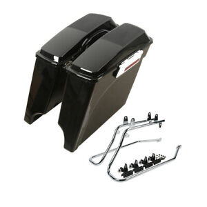 """5"""" Stretched Saddlebags W/ Conversion Bracket For Harley Softail Deluxe 84-16 11"""