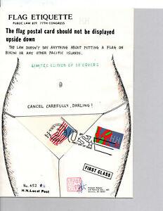 #UX117 UNITED STATES FLAG POSTAL CARD HIDEAKI NAKANO FDC, LOVE, BIKINI