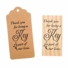 Wooden Rubber Stamp for Tags, Wedding Guest Favors (Thank You Cursive)