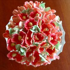 Vtg Millinery Flower Forget Me Not Bunch Peachy Pink Cluster for Hat + Hair Pc1