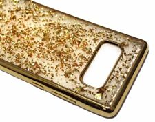 For Samsung Galaxy NOTE 8 - Gold Flakes Rubber TPU Silicone Soft Skin Case Cover