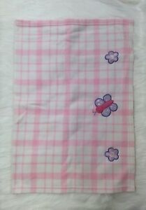 Sprints Ind Pink White Plaid Butterfly Flower Baby Blanket Girl RN 1558  B416