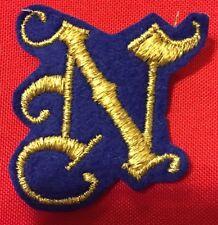 """VTG. """"N"""" GOLDEN 2"""" FELT PATCH LETTER N GOLD METALLIC COLOR ON BLUE BIN:D1"""