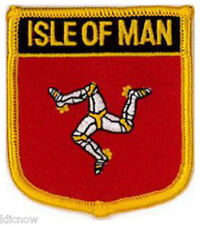 """Isle of Man (Shield) Embroidered Patch 6CM X 7CM (2 1/2"""" X 2 3/4"""")"""