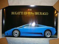 BBURAGO BUGATTI EB 110 BLUE POSTER-VERY RARE