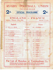 ENGLAND v FRANCE 1928 RUGBY PROGRAMME 25 FEBRUARY - GRAND SLAM ENGLAND