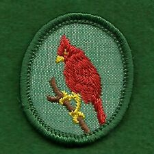 VINTAGE  GIRL SCOUT TROOP CREST - CARDINAL - CHEESECLOTH BACK - PINSTRIPE