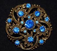 Vintage Coro Royal Blue Rhinestone Flowers in Artistically Swirled Gold Tone Pin