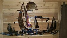 4' long SAIL BOAT Hand Torched WITH CLEAR Wall Art Decor