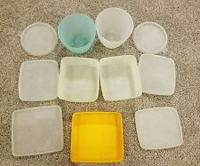 11 Vtg Tupperware Square Rounds Freezer Storage Containers Colors #311& #148-31