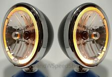 "Pair Black Dietz 7"" Halogen Headlights Lamps w/ Amber LED Halo Ring Lights"