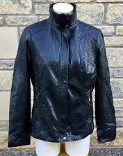 * MILESTONE * Women's Black Leather Lined Jacket Coat  UK 14   D 40   US 10