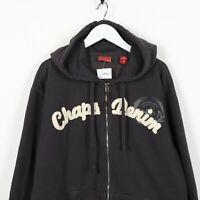 Vintage CHAPS DENIM Big Logo Zip Up Hoodie Sweatshirt Black   Medium M
