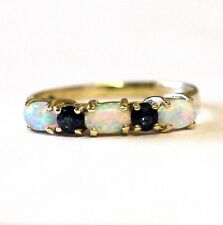 10k yellow gold created opal sapphire estate ring 1.8g ladies vintage antique