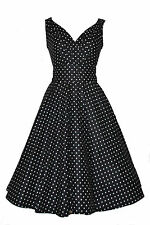 Vintage 50's Style Cotton Black Polka Dot Belted Flared Dress New Size 14