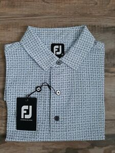 NEW FootJoy Mens Lisle Open Weave Print Golf Polo Medium WT/NAVY/LAGOON 26580