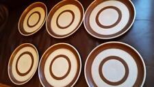 "6 x DENBY 10"" DINNER PLATES  cream / brown 1970's retro PATTERN"