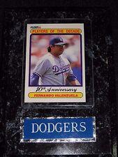 Dodgers Fernando Valenzuela Plaque with 10th Anniversary Players of Decade Fleer